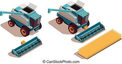 agrícola, isométrico, conjunto, máquinas