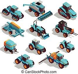 agrícola, isométrico, conjunto, máquinas, iconos