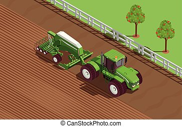 agrícola, isométrico, máquinas, plano de fondo