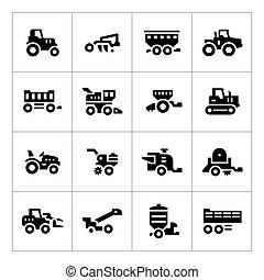 agrícola, jogo, maquinaria, ícones
