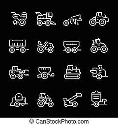 agrícola, línea, conjunto, maquinaria, iconos