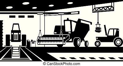agrícola, serviço, maquinaria, manutenção