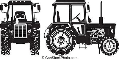 agrícola, siluetas, vector, tractor
