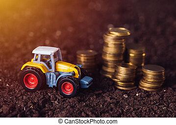agrícola, trator, brinquedo, e, dourado, moedas, ligado,...