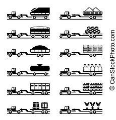 agrícola, tratores, com, reboques