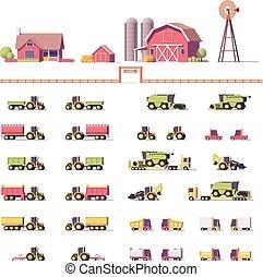 agrícola, vector, bajo, poly, maquinaria