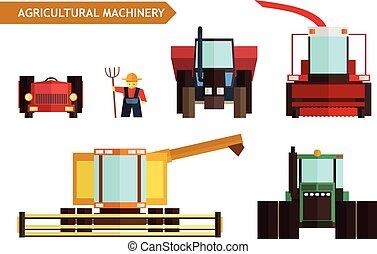 agrícola, vetorial, maquinaria