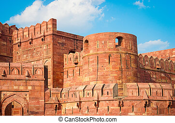 Agra Fort in Uttar Pradesh, India.  UNESCO World Heritage