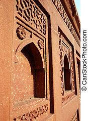 agra, fort, inde, architecture, détails