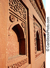 agra, fort, india, architectuur, details