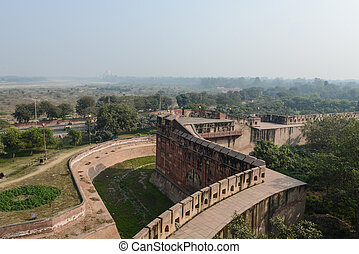 Agra Fort with Taj Mahal in the Background
