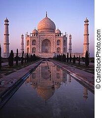 agra, india., mahal, coucher soleil, taj
