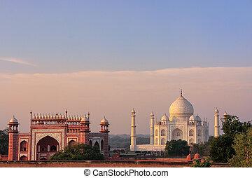 agra, mahal, pradesh, 光景, インド, taj, 偉人, 門, uttar