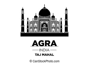 Agra Skyline with Typography Design vector