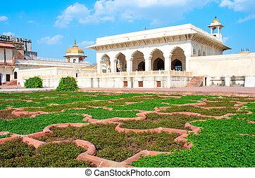 agra, uttar, india., 城砦, pradesh