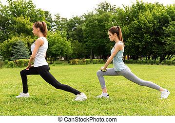 agradável, adelgaçar, mulheres, fazendo, desporto, exercícios