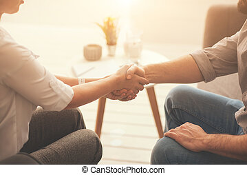agradável, agradável, pessoas, saudação, um ao outro