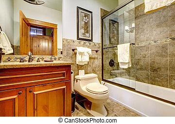 agradável, bahroom, com, vidro, chuveiro, door.