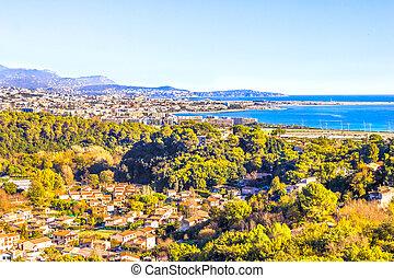 agradável,  côte, aéreo,  d'Azur, vista