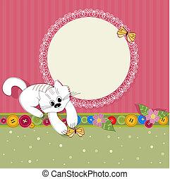 agradável, desenho, quadro, com, um, gatinho