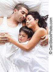 agradável, junto, dormir, família