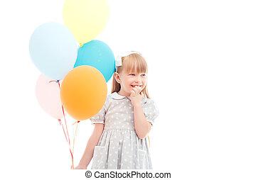 agradável, menina, segurando, balões