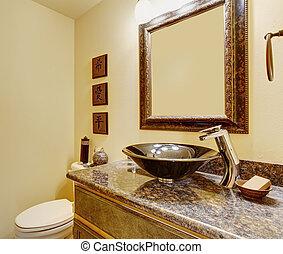 agradável, mestre, banheiro, com, mármore, pias, e, counters.