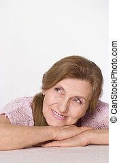 agradável, mulher idosa