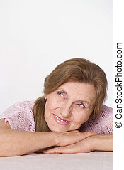 agradável, mulher, idoso