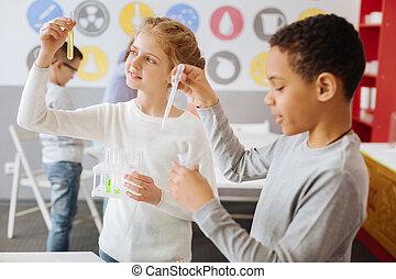 agradável, olhar, químicos, schoolchildren, durante, classe
