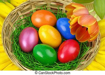 agradável, páscoa, arranjo, com, ovos