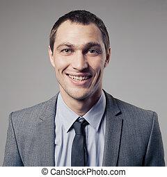 Agradável, Retrato, cinzento, fundo, homem negócios