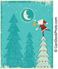 agradável, texto, cartão, antigas, fundo, santa, natal, vetorial, proposta, moon., vindima