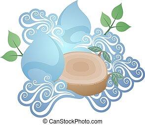 agradable, agua, energía, ilustración