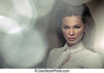 agradable, corte de pelo, de, atractivo, mujer de negocios