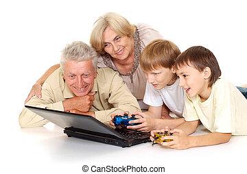 agradable, granddad, abuelita, nietos, su