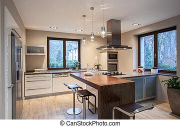 agradable, house-, travertine, cocina