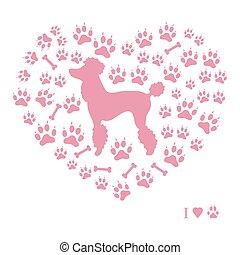agradable, imagen, de, poodle, silueta, en, un, plano de fondo, de, perro, pistas, y, huesos, en, el, forma, de, heart.