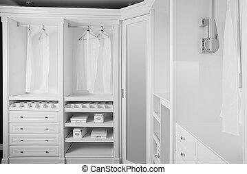 agradable, interior, de, de madera, guardarropa