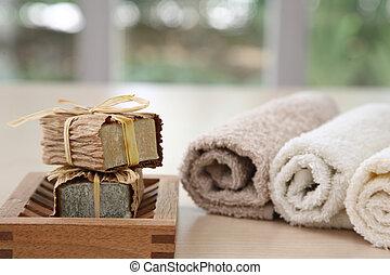 agradable, natural, colores, jabones, toallas