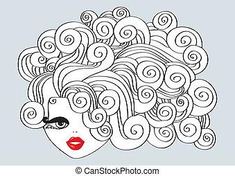 agradable, niña, con, pelo rizado, y, rojo, mouth.vector, ilustración