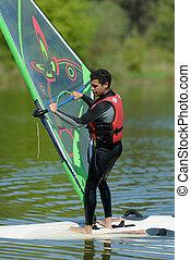 agradable, windsurf, sportman