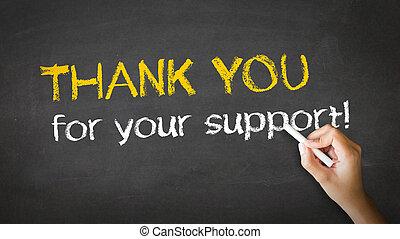 agradecer, apoyo, ilustración, tiza, usted, su