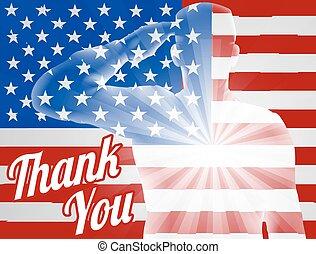 agradecer, bandera, norteamericano, usted, veteranos día