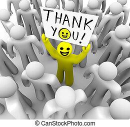 agradecer, cara sonriente, persona, tenencia, usted, señal