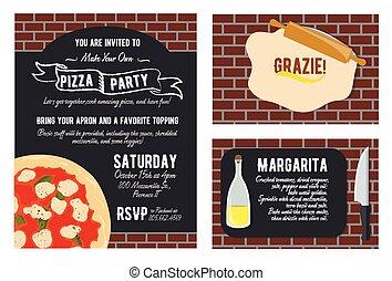 agradecer, card., oil., marca, vector, pizza, set., su, invitación, usted, diversión, knife., receta, poseer, grazie, fiesta