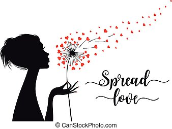 agradecer, cartão, corações, tu, dandelion, vetorial, voando