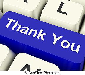 agradecer, computadora, gracias, llave, en línea, usted, mensaje