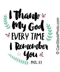 agradecer, dios, cada, tiempo, usted, mi, recordar