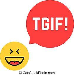 agradecer, dios, tgif, viernes, él, como, logotipo, emoji